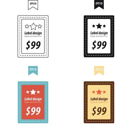 bakery price: bakery Price label 4 style Illustration