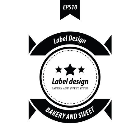 baked goods: Retro style label black color Illustration