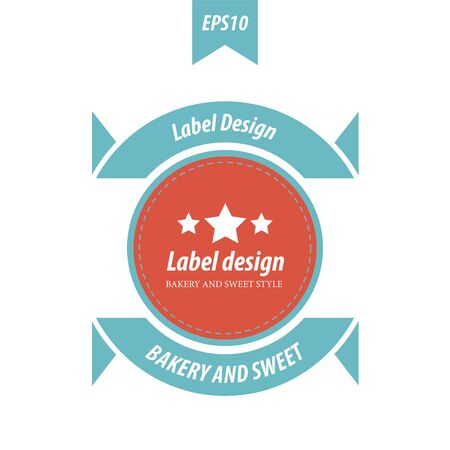baked goods: Vector Label Design  red and blue retro color