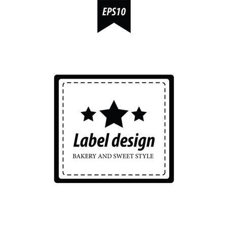 baked goods: label design black and white Illustration