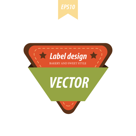 baked goods: Triangle label Brown, orange and green color