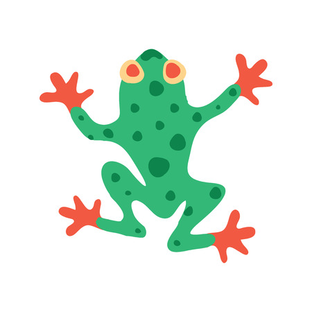 croaking: Cute frog isolated on white Illustration