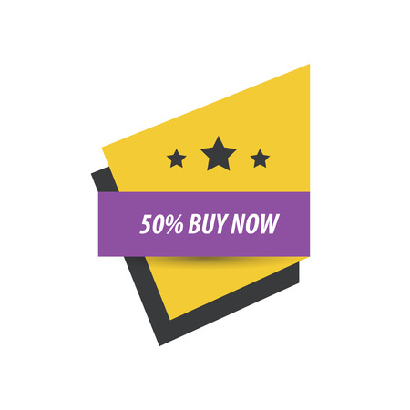 abatement: label Buy now And 3 Star   Purple, yellow, black Illustration