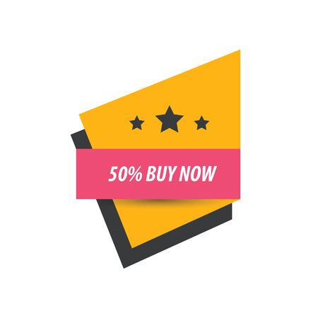 abatement: label Buy now And 3 Star  pink, yellow, black Illustration