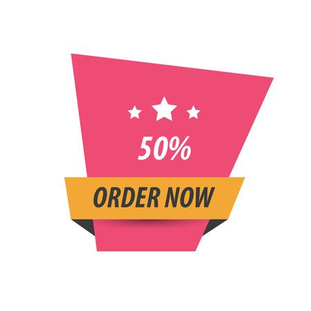 abatement: Order Now Label Design  pink, yellow, black Illustration
