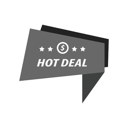 abatement: Label Hot Deal black color Illustration