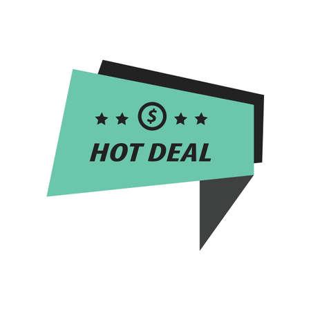 hot deal: Label Hot Deal  black, Green Illustration