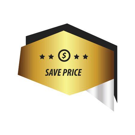 bargaining: origami Label Gold, silver Illustration
