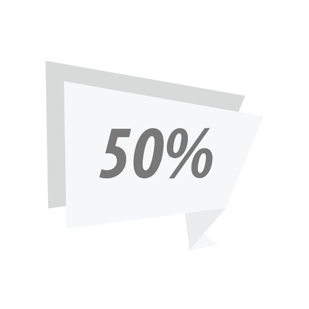 fifty: fifty percent Label Origami White color