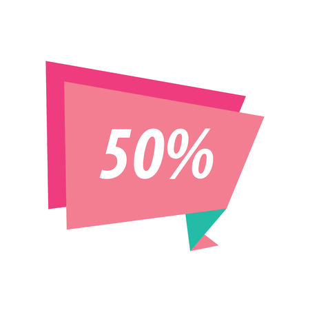fifty: fifty percent Label Origami pink and green