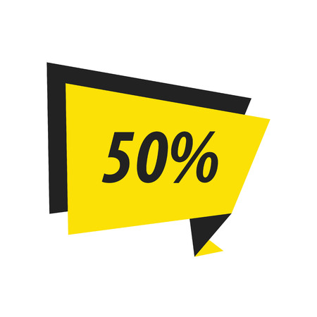 fifty: fifty percent Label Origami  black, yellow