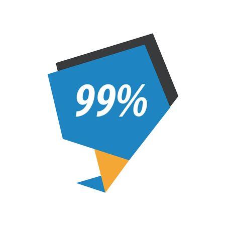 bargaining: ninety nine percent label  Blue, yellow, black Illustration