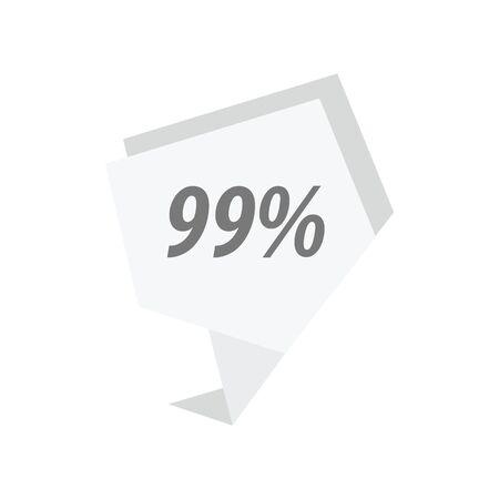 ninety: ninety nine percent label White color Illustration