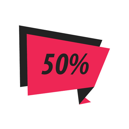 abatement: fifty percent Label Origami black, pink Illustration
