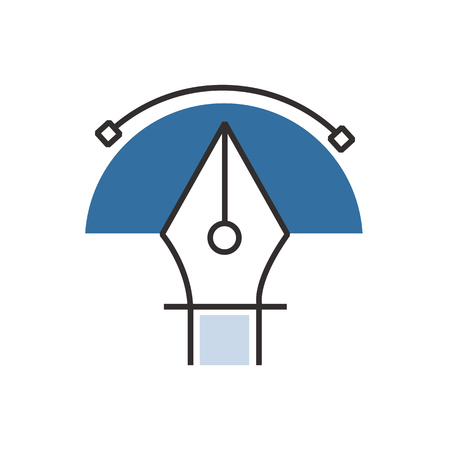 blue pen: semicircle Blue pen tool  icon