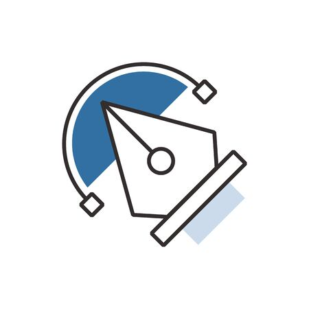blue pen: Blue pen tool  icon vector Illustration