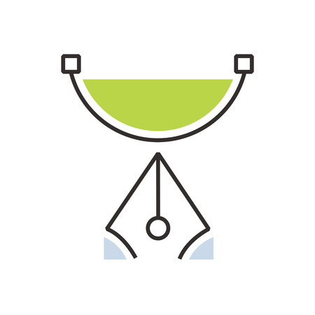 semicircle: Green pen tool  icon semicircle Illustration