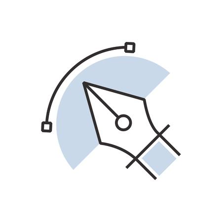 nib: pen tool  icon semicircle design Illustration