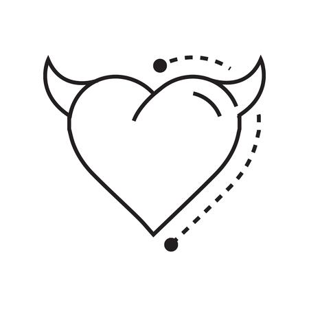 fateful: Line icon Style Heart Devil Illustration