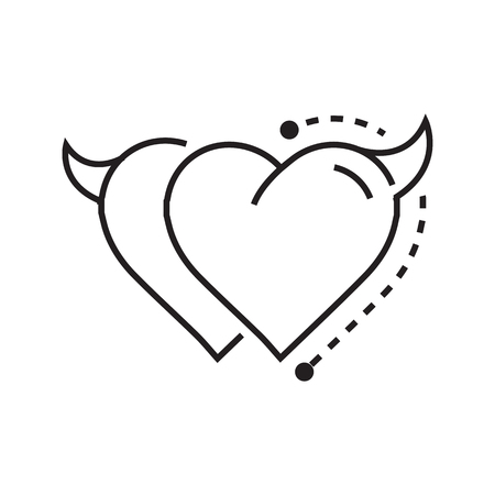 fateful: Two Line icon Style Heart Devil Illustration