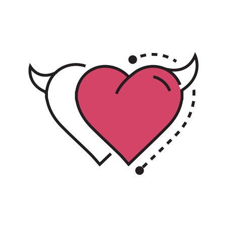 Two Line icon Style Heart Devil pink