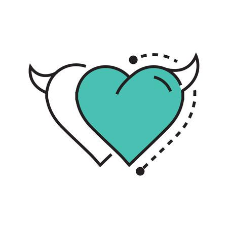 Two Line icon Style Heart Devil blue Illustration