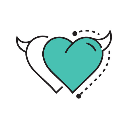 fateful: Two Line icon Style Heart Devil blue Illustration