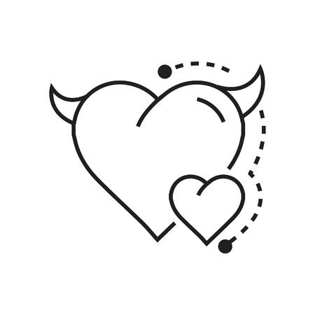 fateful: Line icon Style Heart Devil Color