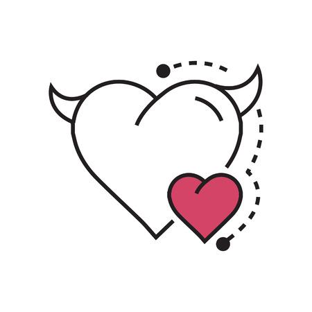 Line icon Style Heart Devil Color pink