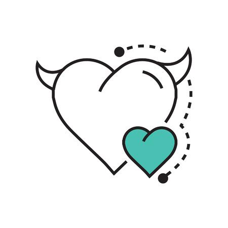 fateful: Line icon Style Heart Devil Color blue
