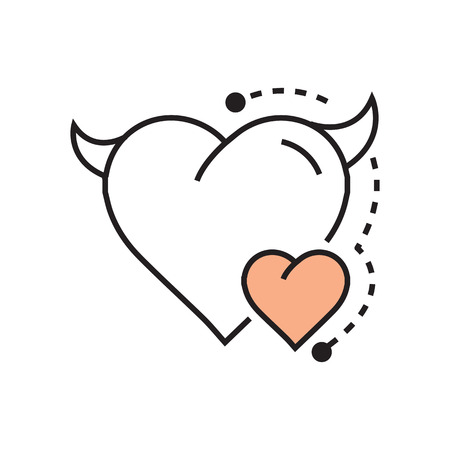 Line icon Style Heart Devil Color  design Illustration