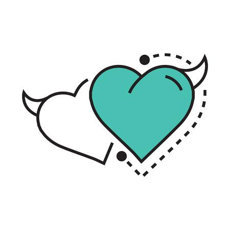 Twins Line icon Style Heart Devil blue