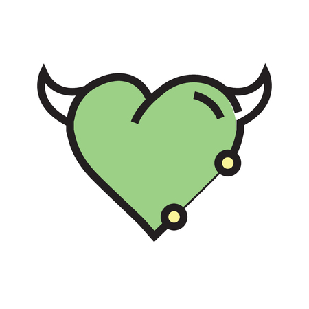 Heart Devil Pen tool Style Green Illustration