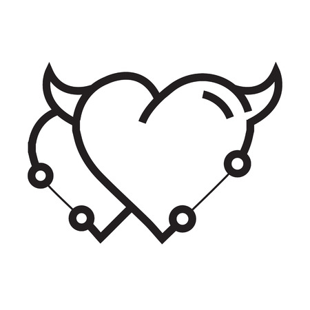 Twins Heart Devil Pen tool Style Illustration