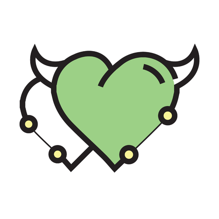 Twins Heart Devil Pen tool Style Green Illustration