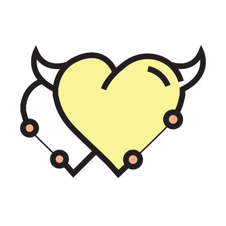cheeky: Twins Heart Devil Pen tool Style yellow