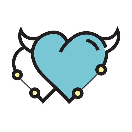 cheeky: Twins Heart Devil Pen tool Style blue