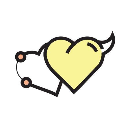 fateful: Love Heart Devil Pen tool Style yellow Illustration