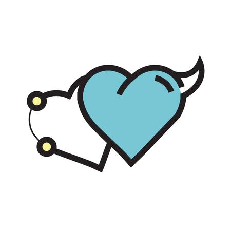 Love Heart Devil Pen tool Style blue Illustration