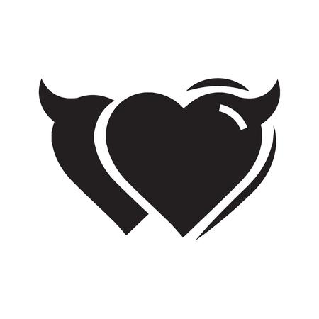 Twins Heart of Devil love black color Illustration