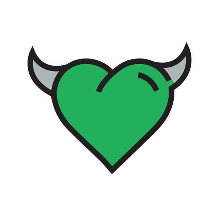 Devil Heart icon green