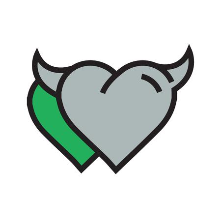 Devil Heart icon twins  green Illustration