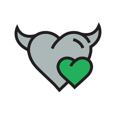 Devil mini Heart icon  green Illustration