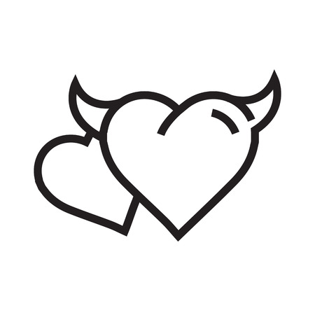 cheeky: two Devil Heart icon Illustration