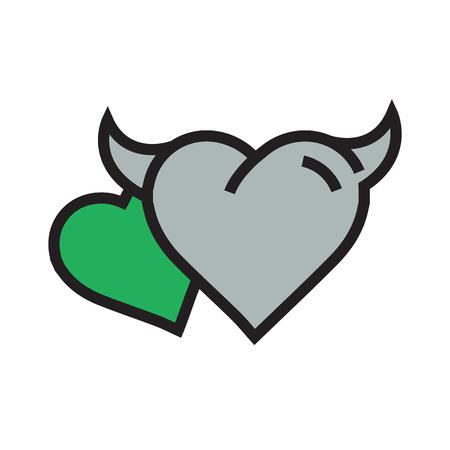 two Devil Heart icon  green