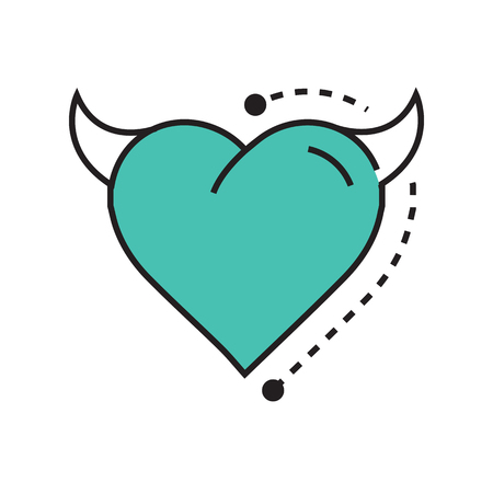 Line icon Style Heart Devil blue