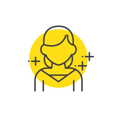 actress: Teen, human avatars icon yellow mark