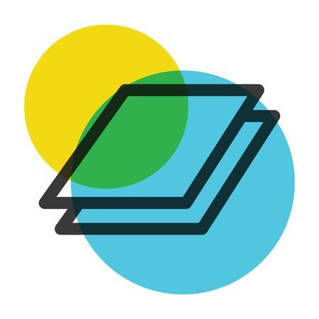 Office two paper yellow and blue color mark  icon