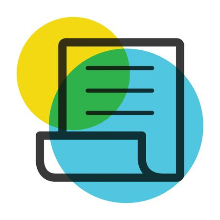 Office paper yellow and blue color mark  icon