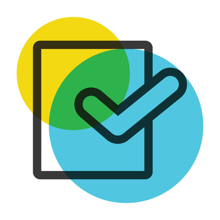 Office paper with symbol  yellow and blue color mark  icon